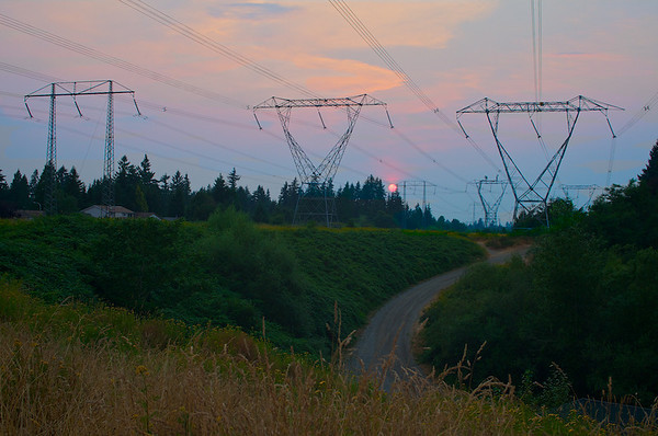Dusk in the smokey skies of the Fraser Valley